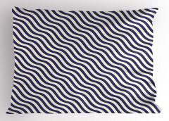 Lacivert Beyaz Dalga Yastık Kılıfı Dekoratif
