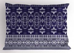 Lacivert Beyaz Desenli Yastık Kılıfı Duvar Kağıdı