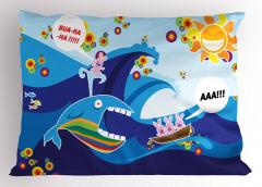 Balina ve Dalgalı Deniz Yastık Kılıfı Komik