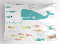 Mavi Balina ve Balık Yastık Kılıfı Beyaz Fonlu