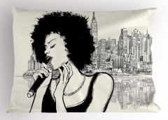 Müzik Temalı Yastık Kılıfı Şarkıcı Kadın Portreli