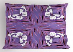 Çiçek ve Kelebek Yastık Kılıfı Mor Beyaz Trend
