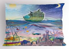 Su Altı Şehri Desenli Yastık Kılıfı Gemi Deniz