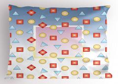 Mavi Beyaz Geometrik Desenli Yastık Kılıfı Kare Daire