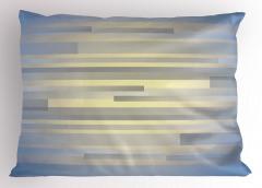 Gri Mavi Şerit Desenli Yastık Kılıfı Modern