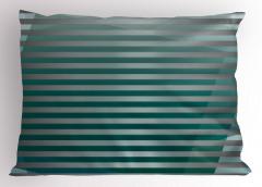 Yeşil Gri Şerit Desenli Yastık Kılıfı Dekoratif