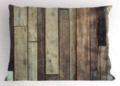 Ahşap Duvar Temalı Yastık Kılıfı Kahverengi Trend