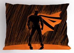 Süper Kahraman Temalı Yastık Kılıfı Turuncu Siyah Şık