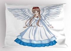 Melek Kız Desenli Yastık Kılıfı Çocuk İçin Beyaz Mavi