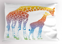 Anne ve Yavru Zürafa Yastık Kılıfı Turuncu Şık