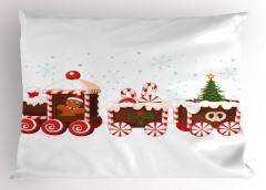 Noel Treni Desenli Yastık Kılıfı Kırmızı Şeker Çörek