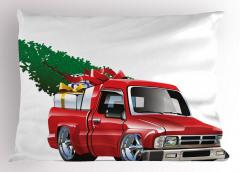 Noel Temalı Yastık Kılıfı Kamyonet Ağaç Yeşil Kırmızı