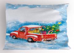 Noel Ağacı Temalı Yastık Kılıfı Kırmızı Kamyonet Kar