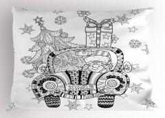 Noel Arabası Desenli Yastık Kılıfı Siyah Beyaz Hediye