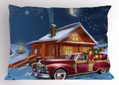 Noel Gecesi Temalı Yastık Kılıfı Kulübe Hediye Kırmızı