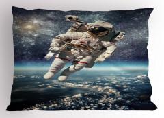Astronot Temalı Yastık Kılıfı Dünya Mavi Gri Uzay Şık