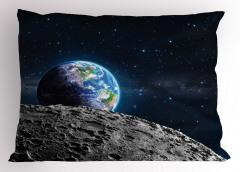 Dünya ve Ay Desenli Yastık Kılıfı Uzay Temalı Gri Şık