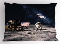 Ay ve Astronot Temalı Yastık Kılıfı Gri Lacivert Şık