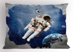 Astronot Desenli Yastık Kılıfı Uzay Temalı Mavi Gri