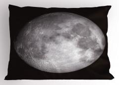 Ay Manzaralı Yastık Kılıfı 3D Gri Siyah Uzay Trend