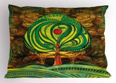 Elma Ağacı Desenli Yastık Kılıfı Yeşil Kahverengi Şık