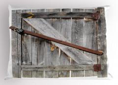 Ahşap Kapı Temalı Yastık Kılıfı Kahverengi Gri Antik