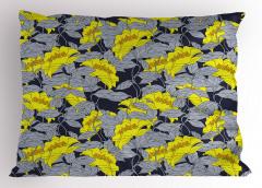 Çiçek Desenli Yastık Kılıfı Gri Sarı Doğa Trend Şık