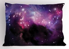 Bulutsu ve Yıldız Yastık Kılıfı Mor Uzay Kozmos