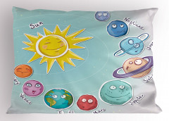 Güneş Sistemi Temalı Yastık Kılıfı Çocuk İçin Mavi