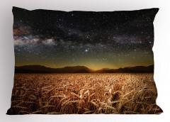 Buğday Tarlası Temalı Yastık Kılıfı Yıldız Gökyüzü