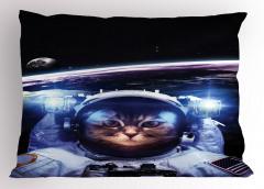 Astronot Kedi Temalı Yastık Kılıfı Siyah Uzay Şık
