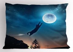 Ay'a Atlayan Kedi Yastık Kılıfı Mavi Yıldız Şık