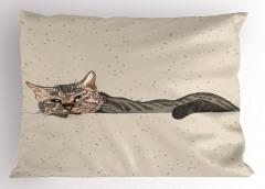 Kedi Desenli Yastık Kılıfı Bej Trend Şık Tasarım Çizim