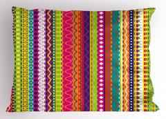 Rengarenk Şeritli Yastık Kılıfı Şık Tasarım Dekoratif