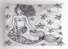 Deniz Kızı Temalı Yastık Kılıfı Gri Şık Tasarım Trend
