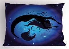 Mavi Ay ve Deniz Kızı Yastık Kılıfı Şık Tasarım