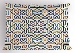 Mavi Sarı Yeşil Desenli Yastık Kılıfı Şık Geometrik
