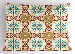 Şık Geometrik Desenli Yastık Kılıfı Altın Bordo Mavi