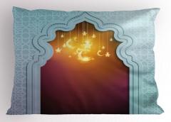 İslam Mimarisi Desenli Yastık Kılıfı Ay ve Yıldızlı