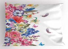 Çeyizlik Çiçekli Yastık Kılıfı Mor Pembe Mavi