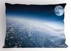 Ay ve Dünya Atmosferi Yastık Kılıfı Dekoratif