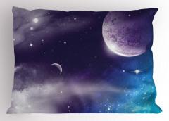 Uzay Gezegen ve Yıldız Yastık Kılıfı Mor Mavi