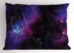 Lacivert ve Mor Uzay Yastık Kılıfı Dekoratif