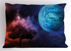 Ağaç ve Dünya Desenli Yastık Kılıfı Mavi Lacivert Mor