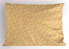 Şık Sarmaşık Gülü Yastık Kılıfı Pembe ve Sarı