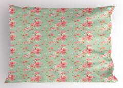 Pembe ve Yeşil Çiçek Yastık Kılıfı Şık Mavi