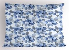 Mavi Lacivert Çiçek Yastık Kılıfı Çeyizlik
