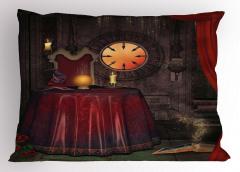 Büyücü ve Kitap Desenli Yastık Kılıfı Orta Çağ Etkili