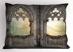 Mermer Şato Pencereleri Yastık Kılıfı Antik