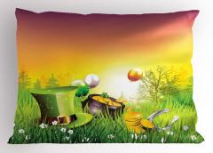 Şapka Altın ve Balon Yastık Kılıfı Çiçek Yeşil Nal